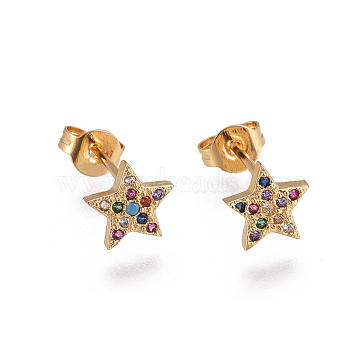 Brass Micro Pave Cubic Zirconia Stud Earrings, with Brass Ear Nuts, Star, Colorful, Golden, 7x7.5mm, Pin: 0.7mm(X-EJEW-F201-05G)