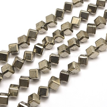 10mm DarkKhaki Cube Pyrite Beads
