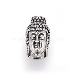 Retro 304 Stainless Steel Beads, Buddha, Antique Silver, 13x8x9mm, Hole: 3mm(STAS-L228-06AS)
