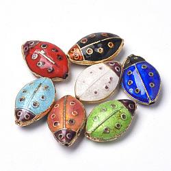 perles en cloisonné main, coccinelle, couleur mélangée, 18x11x6 mm, trou: 1 mm(X-CLB-S006-14)