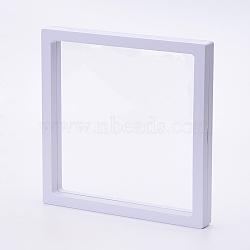 Supports de cadre en plastique, avec membrane transprent, Pour la bague, pendentif, affichage de bijoux de bracelet, carrée, blanc, 18x18x2 cm(ODIS-P006-02A)