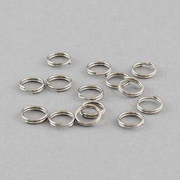 304 Stainless Steel Split Rings, Stainless Steel Color, 6x1.4mm; about 4.6mm inner diameter(STAS-Q186-01-6mm)