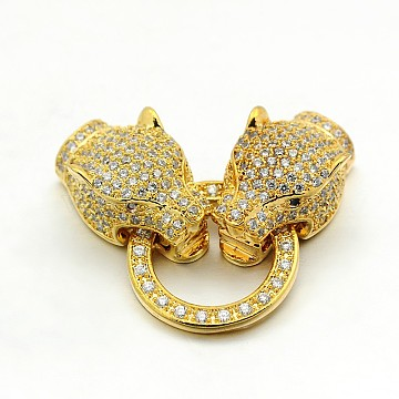 Brass Micro Pave Cubic Zirconia Fold Over Clasps, Leopard Head, Cadmium Free & Lead Free, Golden, 36x16x8mm, Hole: 1mm(ZIRC-M043-G-01-RS)