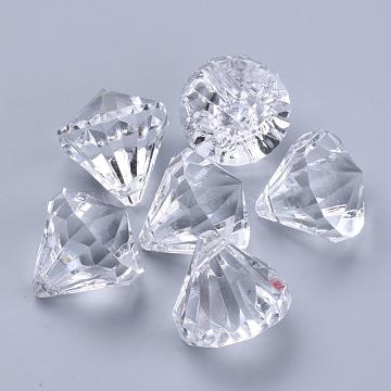 Transparent Acrylic Pendants, Faceted, Diamond, Clear, 15x15mm, Hole: 2mm(X-TACR-Q260-C-V01)