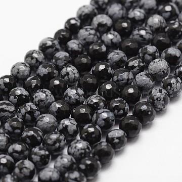 4mm Black Round Snowflake Obsidian Beads