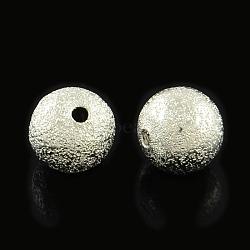 Perles en laiton texturées, rond, platine, 12mm, Trou: 2mm(X-KK-R012-12mm-P)