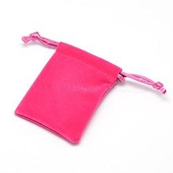 Sacs-cadeaux rectangulaires en tissu velour, bijoux sachets d'emballage de étirables, rose foncé, 7x5.3 cm(X-TP-L003-04B)