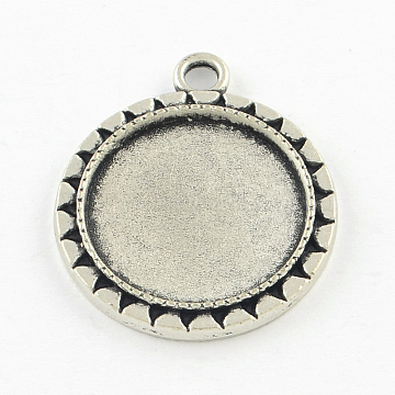 Tibetan Style Alloy Flat Round Pendant Cabochon Settings, Cadmium Free & Lead Free, Antique Silver, Tray: 20mm; 30x26x2.5mm, Hole: 3mm(X-TIBEP-Q045-025AS-RS)