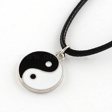 Feng Shui Yin Yang Platinum Plated Zinc Alloy Enamel Pendant Necklaces with Waxed Cord and Iron End Extender Chains, Black, 17 inches(X-NJEW-R228-66P)
