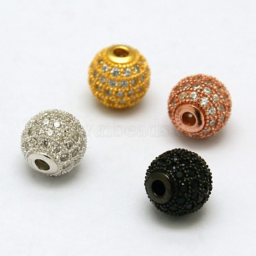 Mixed Color Round Sterling Silver+Cubic Zirconia Beads