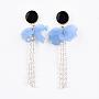 LightSkyBlue Acrylic Stud Earrings(EJEW-JE03268-04)