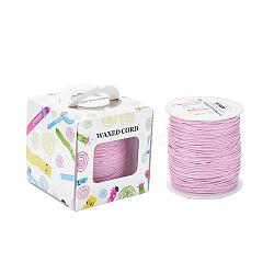 Waxed Cotton Cords, Pink, 1mm; about 100yards/roll(91.44m/roll), 300 feet/roll(YC-JP0001-1.0mm-134)