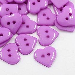 Акриловые швейные пуговицы, для одежды , Сердце кнопки, 2-луночное, окрашенные, сиреневые, 14x14x3 мм, отверстие : 1 мм(X-BUTT-E085-B-02)