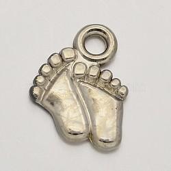 Ccb пластиковые детские ножки прелести, платина, 15x12x2 мм, отверстие : 2 мм(CCB-J032-02P)