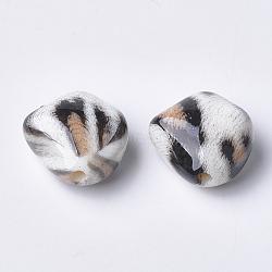 Perles acryliques imprimées, navajo blanc, 23.5x23.5x13mm, Trou: 3mm(X-MACR-T024-34A)