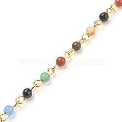 Handmade Natural Agate Beaded Chains, Unwelded, with Brass Needle, Golden, 4~4.5mm, 39.37 inches, 1m/strand(X-AJEW-JB00448-02)