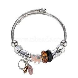 bracelets européens, de billes de verre, émail, strass, beige, plaqué argent(BJEW-BB34153-D)