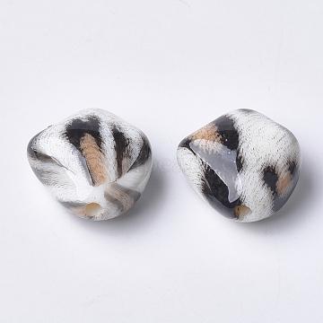 Printed Acrylic Beads, NavajoWhite, 23.5x23.5x13mm, Hole: 3mm(X-MACR-T024-34A)