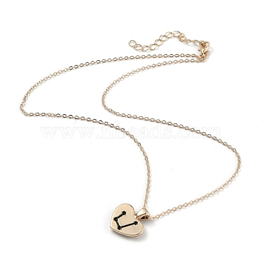 Golden Plated Heart with Constellation/Zodiac Sign Alloy Enamel Pendant Necklaces(NJEW-H214-A05-G)-4