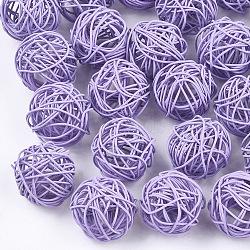 Perles de fil de fer environnementales peintes par pulvérisation, rond, Mediumpurple, 15~17mm(IFIN-T009-10B)