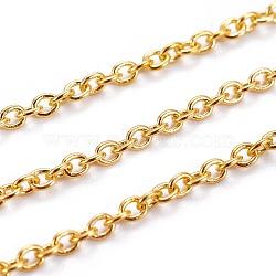chaînes de câble en laiton, non soudée, ovale, sans cadmium et sans nickel et sans plomb, couleur dorée, 3x2x0.6 mm(X-CHC027Y-G)