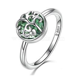 925 bagues en argent sterling, avec le verre, sculpté 925, plat et circulaire avec arbre de vie, vert, argent antique, taille 6, 16.5 mm(RJEW-FF0014-02-6)