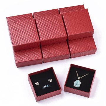 Cardboard Jewelry Boxes, for Pendant & Earring & Ring, with Sponge Inside, Square, Red, 7.5x7.5x3.5cm(CBOX-N012-25A)