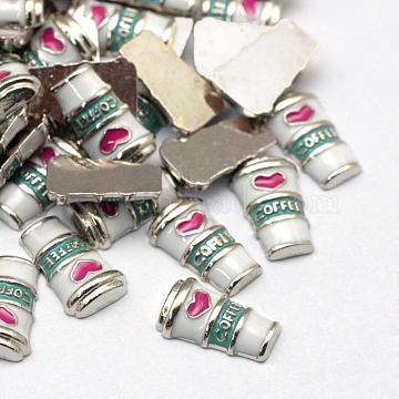 Enamel Style Alloy Cabochons, Floating Charms, DIY for Floating Lockets Glass Living Memory Lockets, Coffee Cup, Platinum, 10x6x2.5mm(X-ENAM-S086-25P)