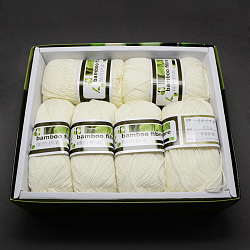 Soft Baby Yarns, with Bamboo Fibre and Silk, LightGoldenrodYellow, 1mm; about 50g/roll, 6rolls/box(YCOR-R024-ZM004)