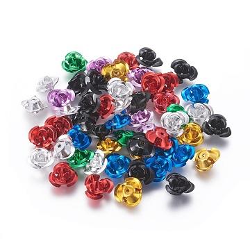 Aluminum Beads, 3-Petal Flower, Mixed Color, 11~12x5.5mm, Hole: 1mm, about 950pcs/bag(FALUM-T001-01C-M)