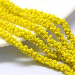 Cordons de perles de semences, avec des câblés en polyester, 6 pli, trou rond, jaune, 6 mm; environ 30 m / bundle(OCOR-R042-13)