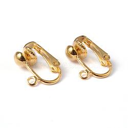 Bagues d'oreilles unies en fer pour oreilles non percées, or, sans nickel, environ 13.5 mm de large, Longueur 15.5mm, épaisseur de 7mm, trou: environ 1.2 mm(X-EC141-NFG)