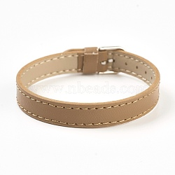 PU Leather Watch Band Strap, Watch Belt, Fit Slide Charms, with Iron Clasps, Platinum, BurlyWood, 8-5/8inches(21.9cm); 10x2mm(BJEW-E350-13D)