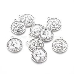 Pendentifs de style tibétain , sans plomb et sans nickel, pièce de monnaie, couleur argent antique, 23x19x1mm, Trou: 1.5mm(TIBEP-A19776-AS-FF)