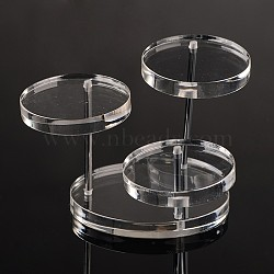 Affichages de bijoux en verre organique, avec les accessoires en fer, clair, 70x70x67mm(X-ODIS-N003-04)