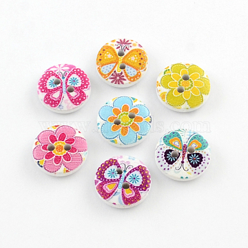 2-Hole Flower Pattern Printed Wooden Buttons, Flat Round, Mixed Color, 15x4mm, Hole: 2mm(X-BUTT-R033-021)