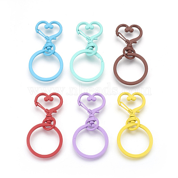 Alloy Swivel Clasps, Swivel Snap Hook, with Iron Rings, Heart, Mixed Color, 60x30mm(KK-P172-03)