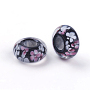 Handmade Lampwork Beads, Large Hole Beads, Rondelle with Flower, Black, 14x6.5mm, Hole: 6mm