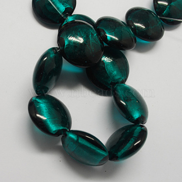 Handmade Silver Foil Glass Beads, Flat Round, Teal, 28x28x13mm, Hole: 2mm(FOIL-R061-7)