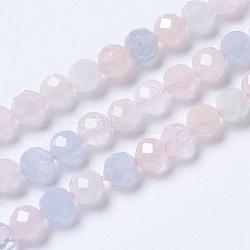 """Naturelles rose morganite brins de perles, rond, facette, 4mm, trou: 0.8mm; environ 101 pcs/chapelet, 15.3"""" (39 cm)(G-F568-168-4mm)"""