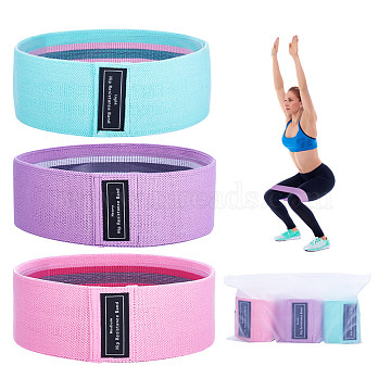 Resistance Loop Bands, Resistance Exercise Bands, for Home Fitness, Stretching, Strength Training, Pilates, Mixed Color, Green+Pink+Purple; 78x8.2cm; 3pcs/bag(JX011A)