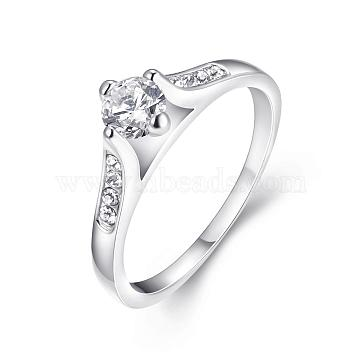 Exquisite Brass Czech Rhinestone Finger Rings Engagement Rings, Platinum, Size 6, 16.5mm(RJEW-BB02180-6)