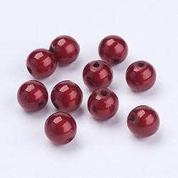 Perles acryliques laquées, perles de miracle, rond, rouge, 8mm, Trou: 1.8mm(X-PB9284-7)