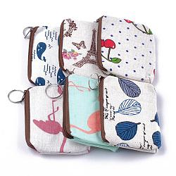Суконные сумки, кошелек для мелочи, с железным кольцом, смешанную картину, cmешанный цвет, 120~122x88~92x12~13 mm(ABAG-S005-07)