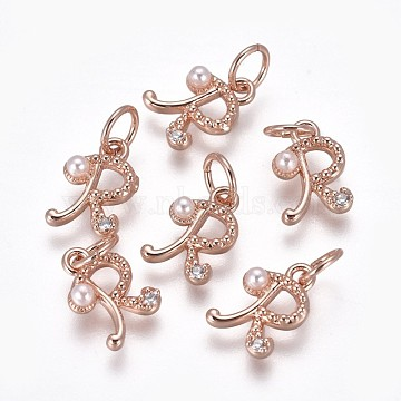 Rose Gold Clear Brass+Cubic Zirconia Charms