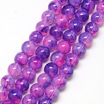 Baking Painted Glass Beads Strands, Imitation Opalite, Round, MediumOrchid, 6mm, Hole: 1.3~1.6mm; about 133pcs/strand, 31.4inches(X-DGLA-Q023-6mm-DB55)
