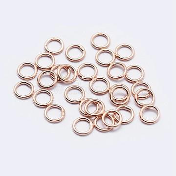 925 Sterling Silver Round Rings, Soldered Jump Rings, Rose Gold, 6x0.6mm; Inner Diameter: 5mm(STER-F036-03RG-0.6x6)