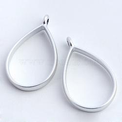 support de placage en alliage en forme de larme pendentifs de lunette arrière, pour diy uv résine, une résine époxy, Bijoux à fleurs pressées, creux, sans plomb et sans nickel, argent mat, 33.9x20.5x3.8 mm, trou: 2.8 mm(X-PALLOY-S047-29B-FF)