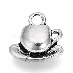 Сплавочные подвески тибетского стиля, чайная чашка, без свинца и без кадмия, античное серебро, 15x14.5x3 мм, отверстие : 3 мм(X-TIBE-S309-49AS-RS)