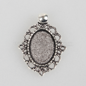 Tibetan Style Alloy Pendant Cabochon Settings, Cadmium Free & Lead Free, Oval, Antique Silver, Tray: 13x18mm, 33x24x2mm, Hole: 4mm(X-TIBEP-N003-31AS)